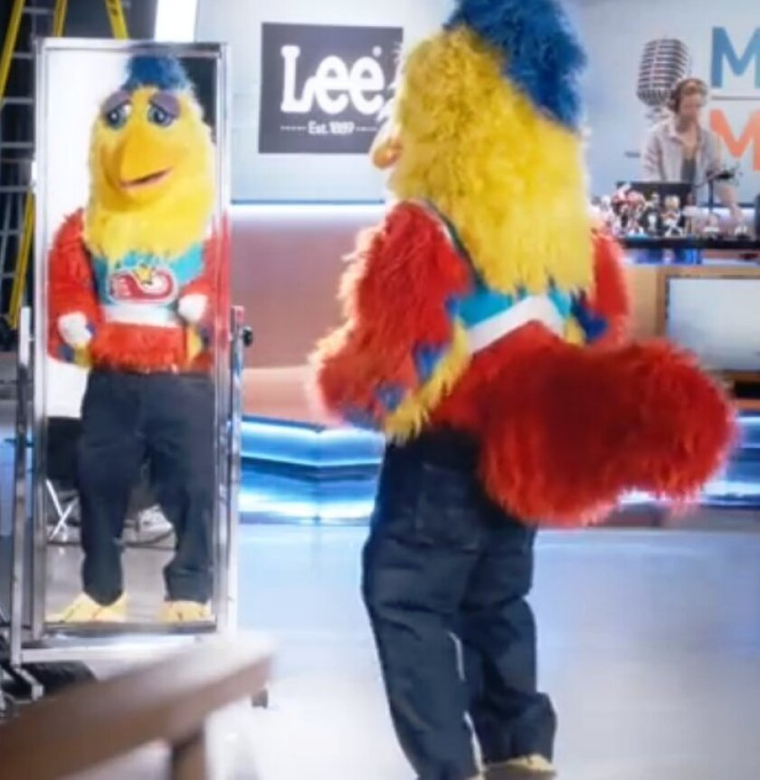 "San Diego's Famous Chicken modeling Lee Jeans in a commercial with ESPN's talk show hosts ""Mike & Mike."""