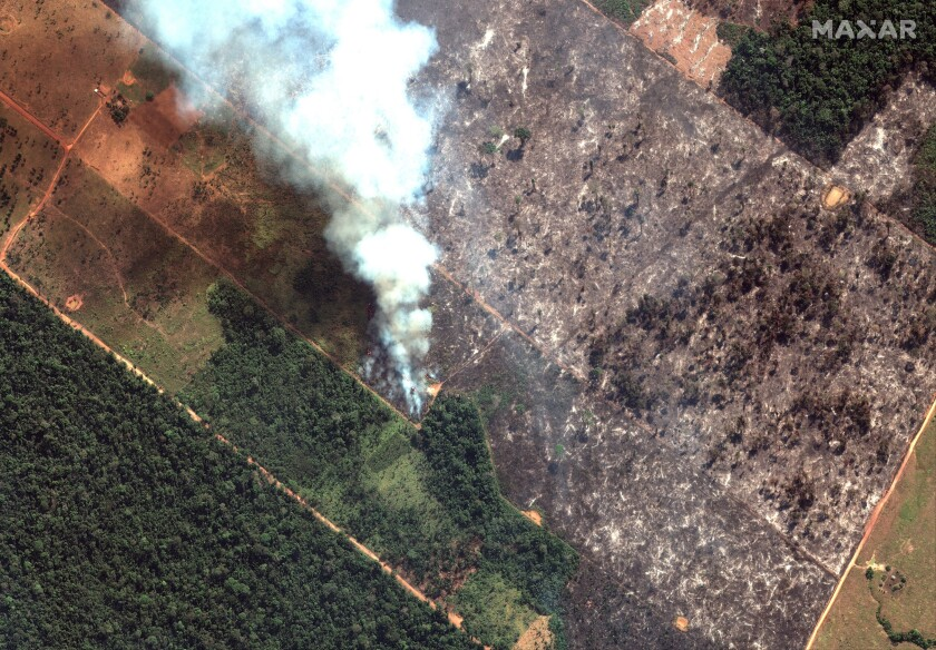 A view of a fire southwest of Porto Velho Brazil on Aug. 15. Brazil's National Institute for Space Research said the country has seen a record number of wildfires this year.