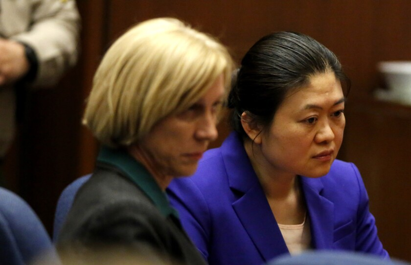 "Rowland Heights doctor Hsiu-Ying ""Lisa"" Tseng and her attorney Tracy Green, left, listen as Tseng was convicted of second-degree murder on Friday, for the drug-overdose deaths of three of her patients."