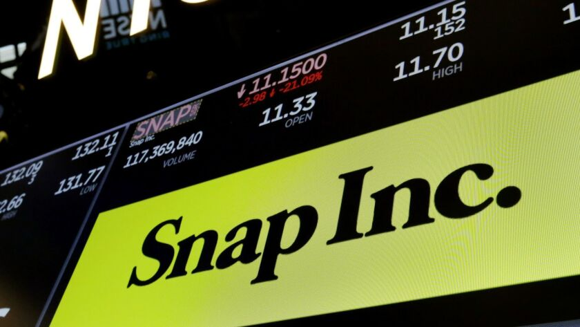 The logo for Snap Inc. appears above a trading post on the floor of the New York Stock Exchange, Wed