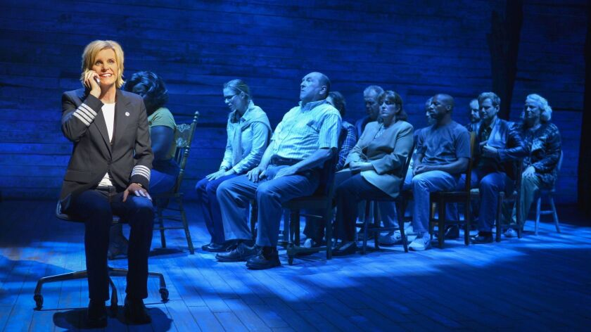 """Jenn Colella (left) with the original cast of """"Come From Away"""" at La Jolla Playhouse."""