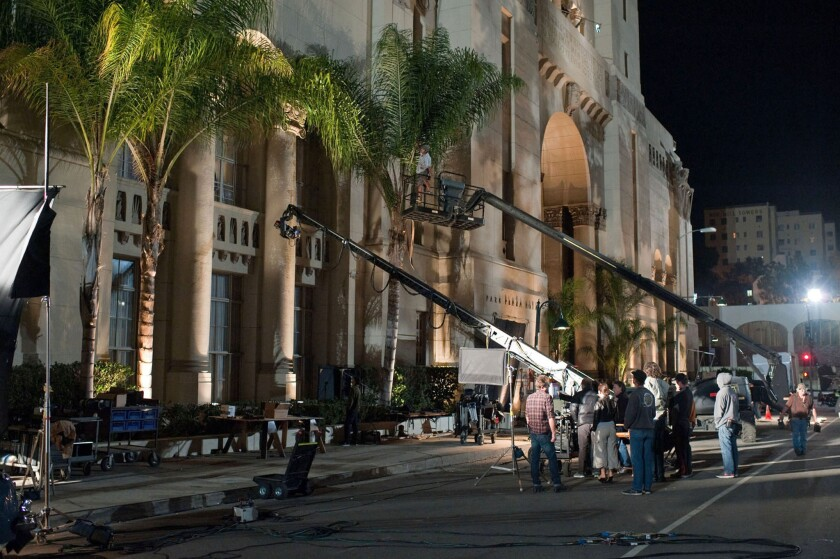 """The Park Plaza Hotel exterior in Los Angeles offers a location setting for the Warner Bros. movie """"Gangster Squad."""""""