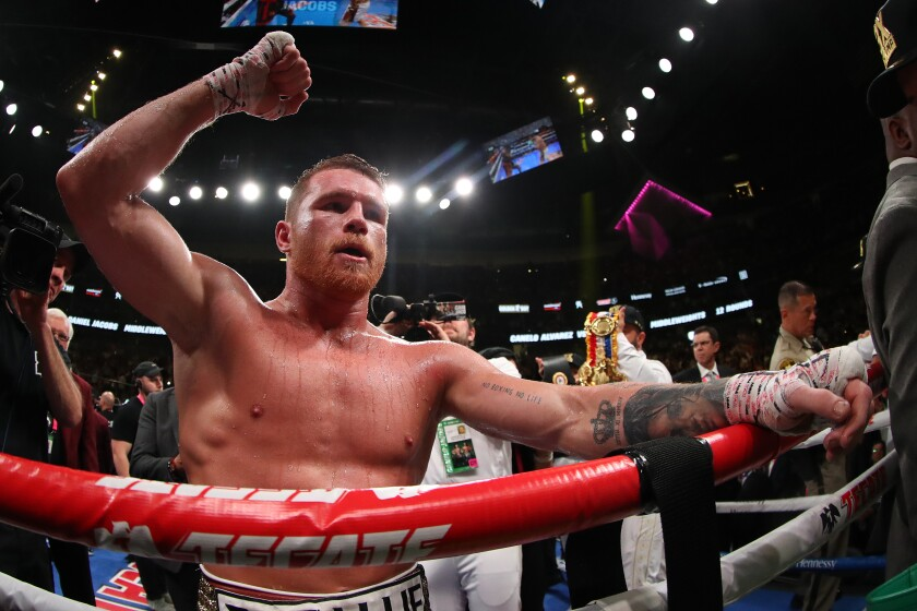 LAS VEGAS, NEVADA - MAY 04: Canelo Alvarez celebrates after his unanimous decision win over Daniel Jacobs in their middleweight unification fight at T-Mobile Arena on May 04, 2019 in Las Vegas, Nevada. (Photo by Al Bello/Getty Images) ** OUTS - ELSENT, FPG, CM - OUTS * NM, PH, VA if sourced by CT, LA or MoD **