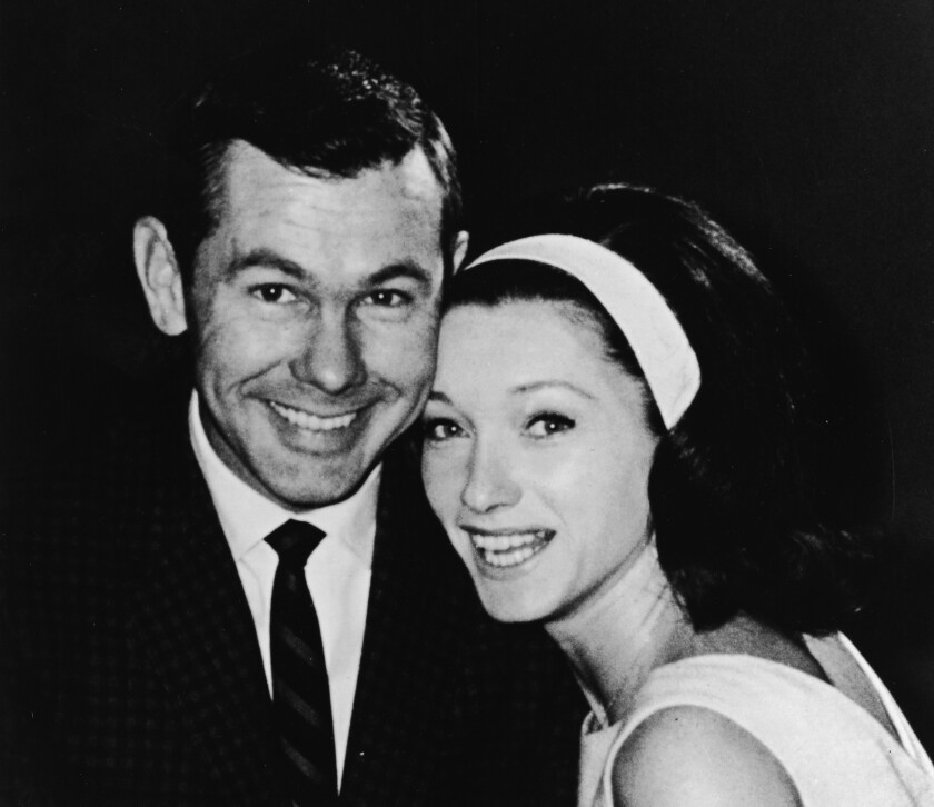 Johnny Carson with wife Joanne in the mid-1960s. Joanne Carson died Friday at age 83.