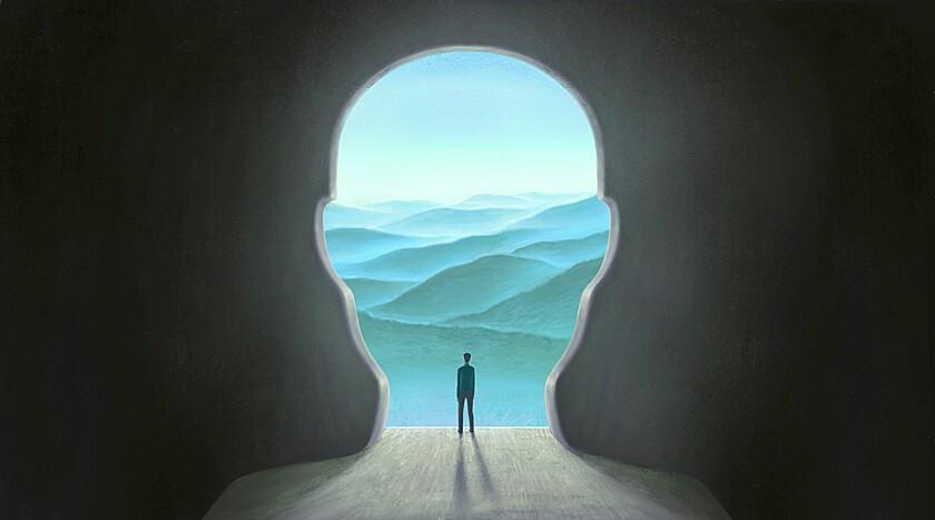 Surreal art, brain hope success freedom mental health