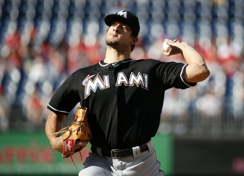 Miami Marlins starting pitcher Brad Hand throws during the first inning of a baseball game against the Washington Nationals at Nationals Park, Saturday, Sept. 19, 2015, in Washington. (AP Photo/Alex Brandon)