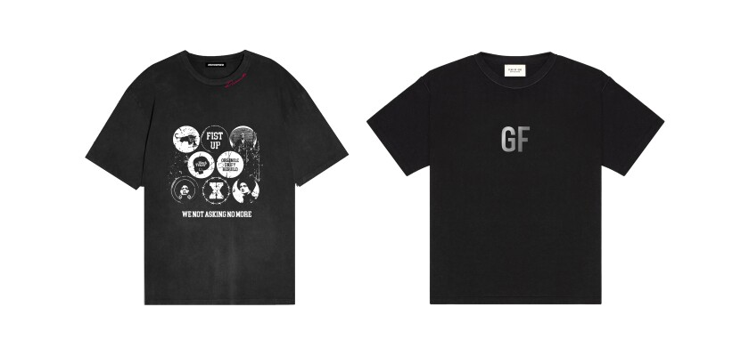 Composite of George Floyd tribute T-shirt by Renowned (left) and Fear of God (right).