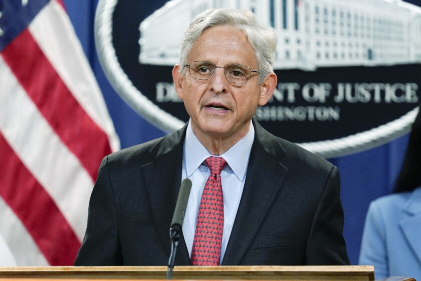 Attorney General Merrick Garland announces a lawsuit to block the enforcement of new Texas law that bans most abortions