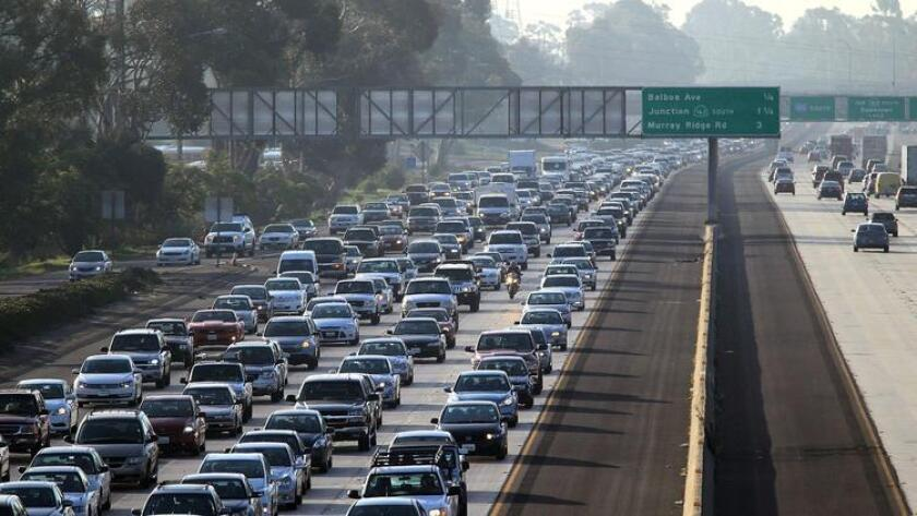 A typical early-morning traffic jam on Northbound 805 through San Diego.