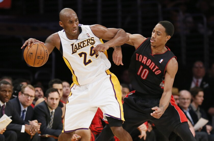 Raptors guard DeMar DeRozan tries to defend Kobe Bryant during one of their many matchups.