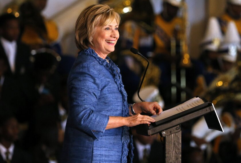Democratic presidential candidate Hillary Rodham Clinton speaks during a campaign stop in Baton Rouge, La.