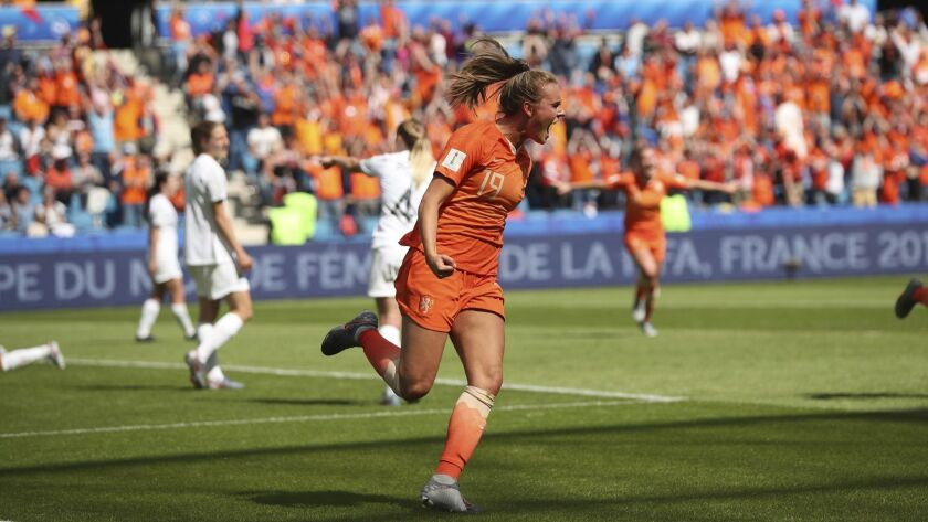 Netherlands' Jill Roord celebrates after scoring the opening goal during the Women's World Cup Group