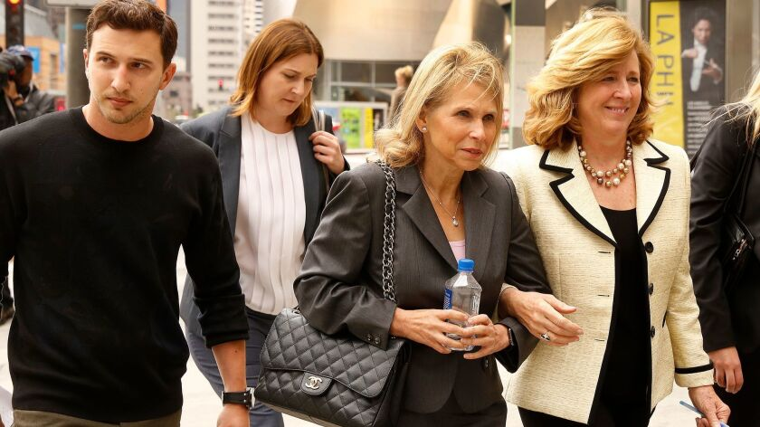 LOS ANGELES, CA-MAY 05, 2016: Shari Redstone, center, daughter of Sumner Redstone, with her son Bran