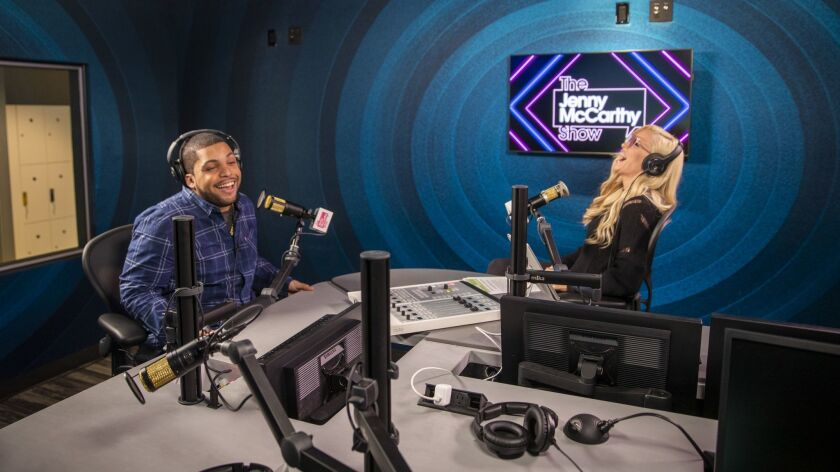 HOLLYWOOD, CALIF. -- THURSDAY, MAY 23, 2019: SiriusXM series host Jenny McCarthy, right, actress,