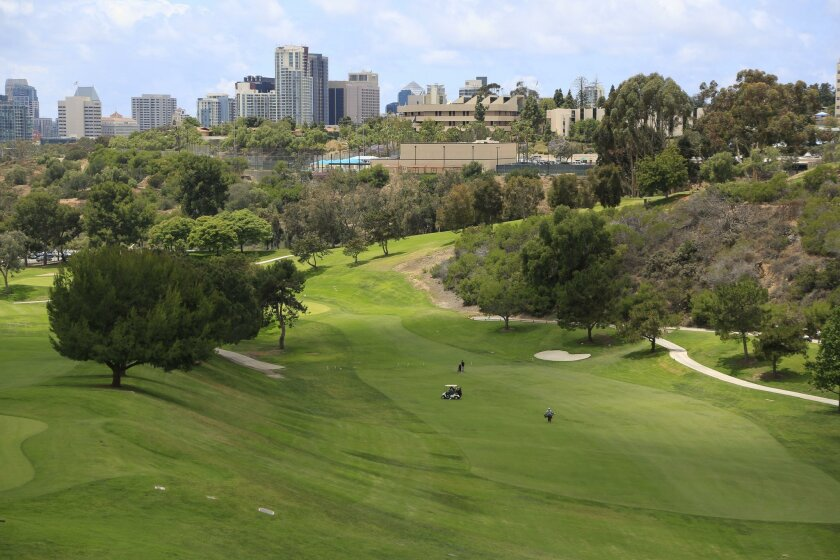 A view west over the Balboa Park golf courses.
