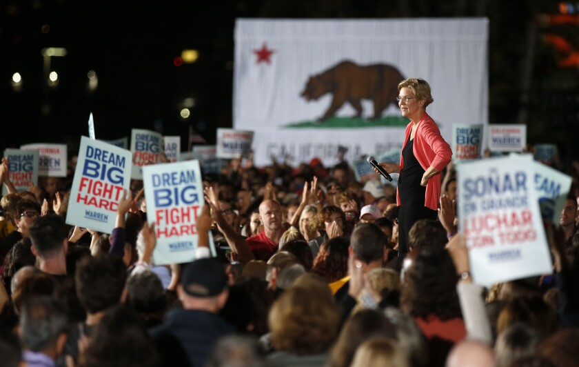 Sen. Elizabeth Warren at a rally Thursday night at Waterfront Park in San Diego.
