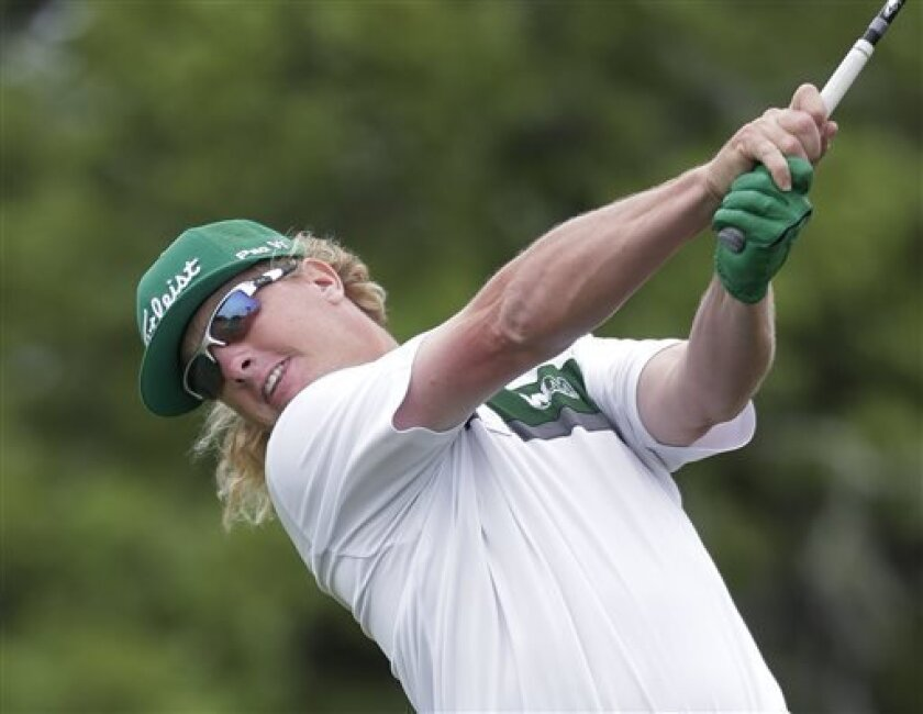 Charley Hoffman hits his drive on the second hole during the final round of the Texas Open golf tournament on Sunday, April 7, 2013, in San Antonio. (AP Photo/Eric Gay)