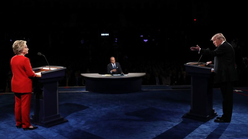 Lester Holt moderates the first of three debates between presidential candidates Donald Trump and Hillary Clinton in 2016.