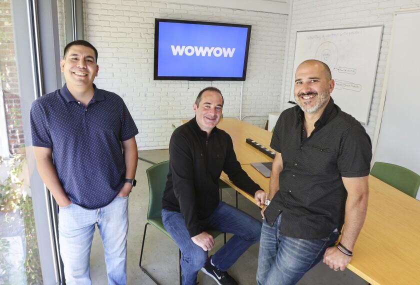 WowYow cofounders (from left) Michael Ramirez, Adam Boskovich, Jarett Boskovich at Wowyow headquarters in San Diego.