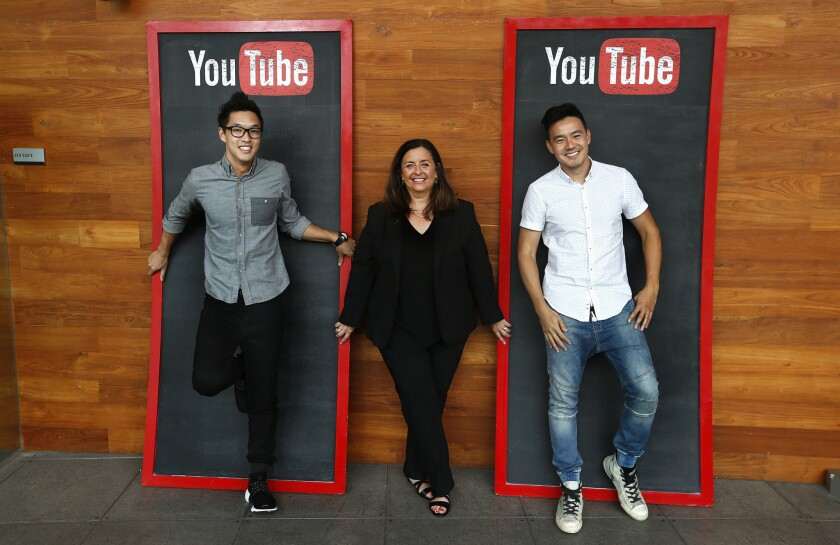 Susanne Daniels, global head of original content for YouTube, with Wesley Chan, left, and Philip Wang, co-founders of YouTube channel Wong Fu Productions.