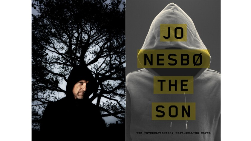 """Author Jo Nesbø and the cover of his book, """"The Son."""""""