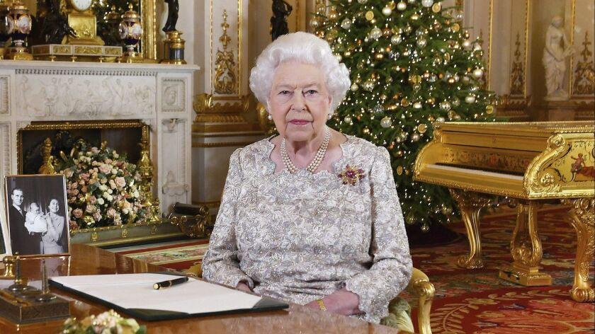 In this photo released on Dec. 24, 2018, Queen Elizabeth II poses after she recorded her annual Christmas Day message at Buckingham Palace.
