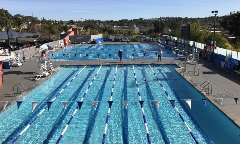 San Dieguito Academy and Torrey Pines High aquatics athletes practice at The Boys & Girls Club at Solana Beach.