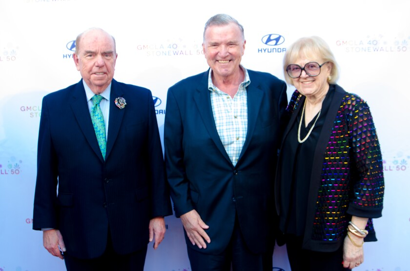 Bob Shrum, left, David Mixner and Marylouise Oates at the Gay Men's Chorus of Los Angeles gala.