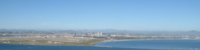 Skies were clear and the air was warm at 5 p.m. today in the San Diego area.