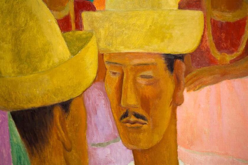 """Fotografía del 5 de abril de 2018, que muestra parte de la obra """"Los Rivales"""" del pintor mexicano Diego Rivera, que se exhibe como parte de la colección de Peggy y David Rockefeller en Beverly Hills, California (EE.UU.). EFE"""