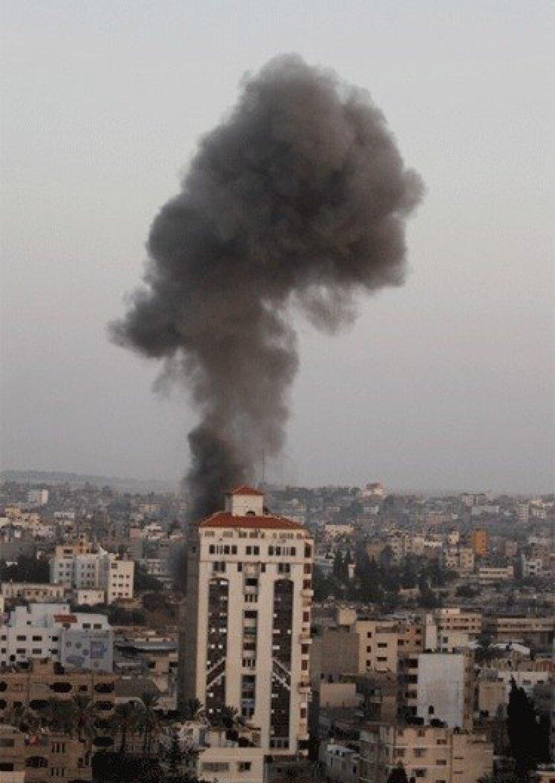 Airstrikes by Israeli jets in Gaza City began last week.