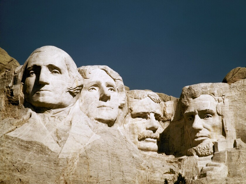 A close-up of Mt. Rushmore