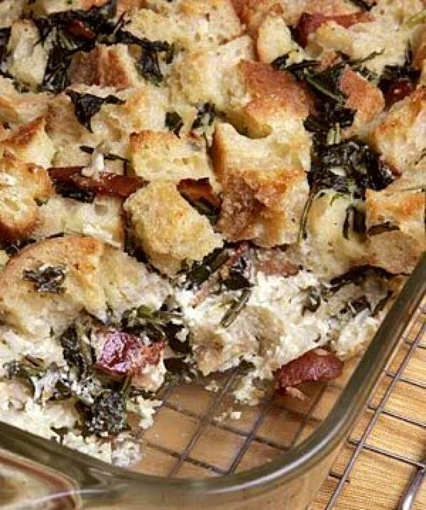 Dandelion greens and bacon team up with fresh goat cheese and shallots to rustic effect.