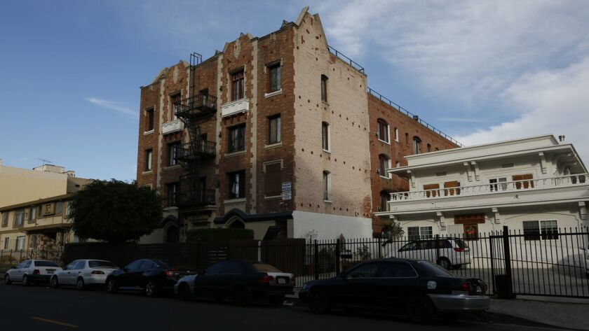 This is one of the five Koreatown apartment buildings cited in a 2016 lawsuit filed on behalf of 15 tenants who alleged that Latinos and residents with mental disabilities were pressured to move out so the owners could charge higher rents.