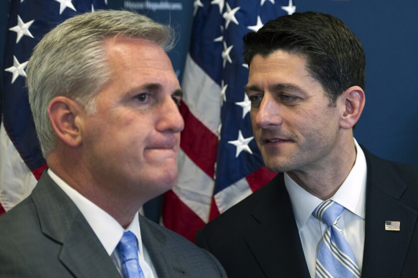 House Speaker Paul D. Ryan, right, with House Majority Leader Kevin McCarthy on Capitol Hill in Washington.