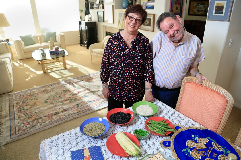 """Fanny and Ruben Rosental of Chula Vista plan on eating """"kitniyot,"""" a category of foods that include corn, beans and rice, during their Passover celebration this year."""