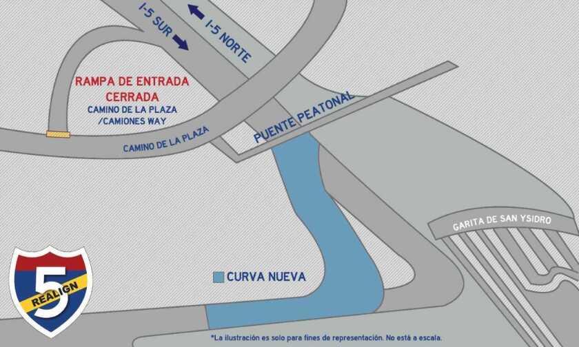 En los siguientes días, la salida vehicular hacia Tijuana en San Ysidro tendrá una nueva curva.