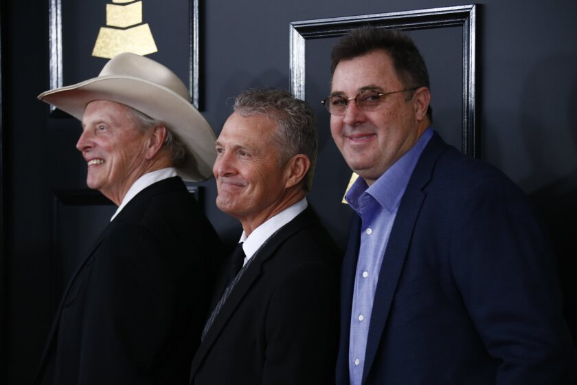 """Veteran country musician Vince Gill, right, with fellow Time Jumpers band members """"Ranger Doug"""" Green, left, and Billy Thomas."""