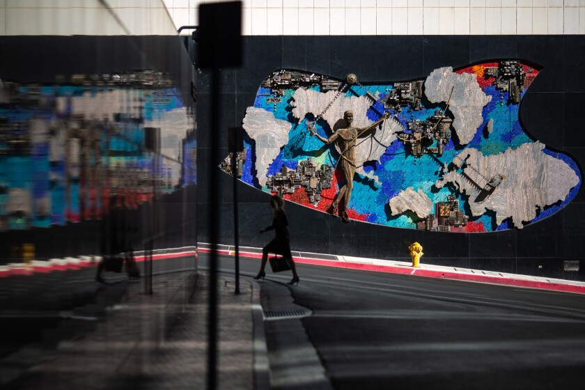 LOS ANGELES, CALIF. - APRIL 25: Anthony Heinsbergen's mural at the AT&T Switching Center along Grad