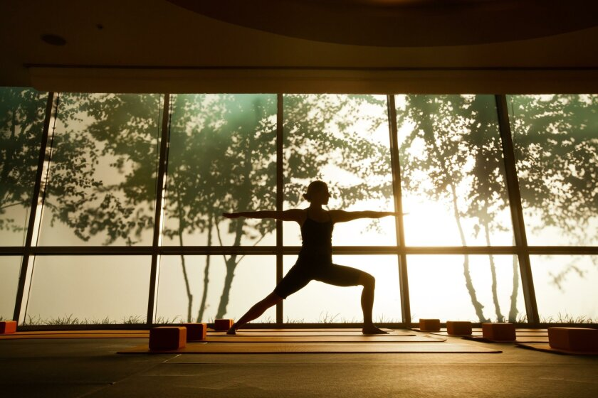 Yoga space inspirations include neutral palettes and natural light.