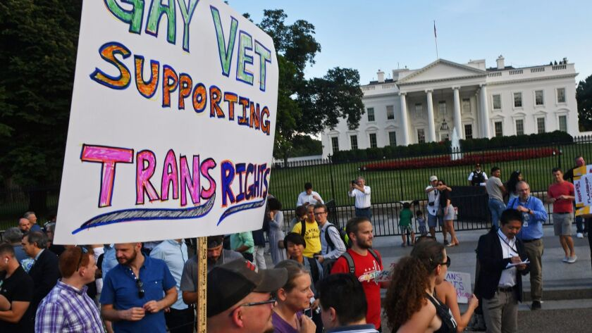 Protesters gather in front of the White House on Wednesday.