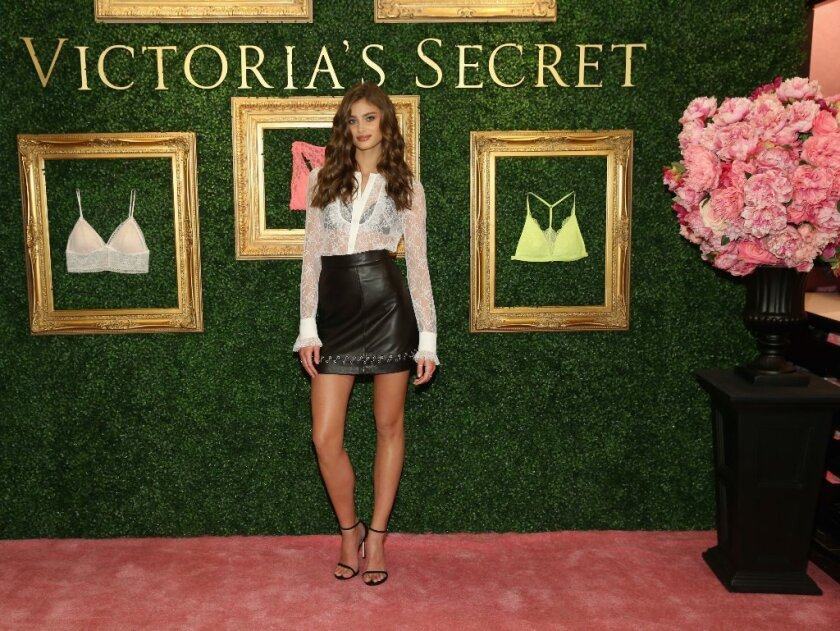 Victoria's Secret Angel Taylor Hill hosts a global media livestream to reveal the retailer's Bralette Collection and launch a multi-city tour at Victoria's Secret Herald Square in New York City on April 12.