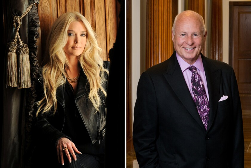 A split image of a blond woman and a bald man in formal attire