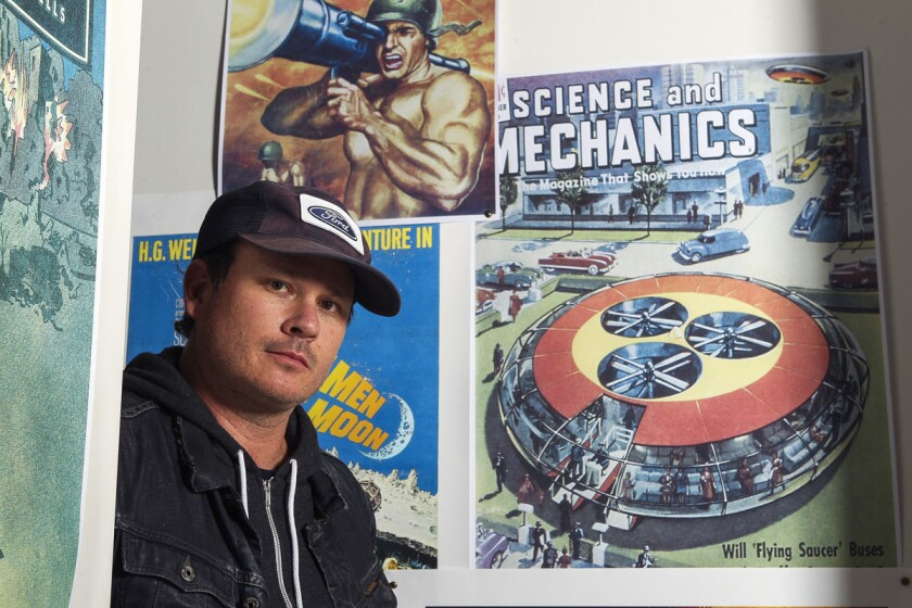 Blink-182 co-founder Tom DeLonge, who is no longer with the band, at his shop To the Stars in Encinitas. (Hayne Palmour IV/Union-Tribune)