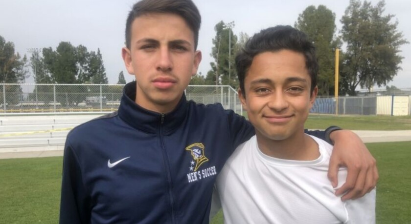 David Diaz, left, and Anthony Miron helped Birmingham win the City Section soccer title last season. Now they're playing in the U.S. Developmental Academy league instead of high school soccer.