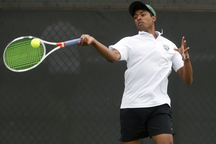 Sage Hill School No. 3 singles player Rohun Krishnan competes against Ventura in the semifinals of t