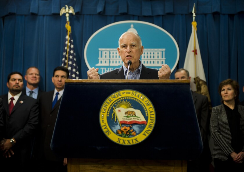 California Gov. Jerry Brown speaks at a news conference in Sacramento last month.