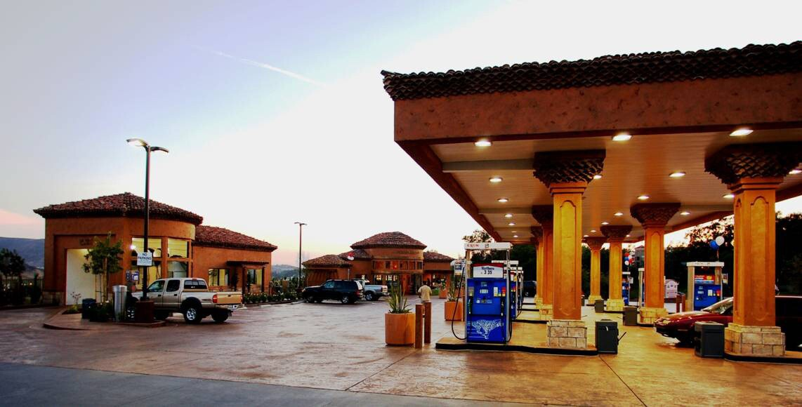 United Oil Co.'s Chevron station in Simi Valley has tile roofs.