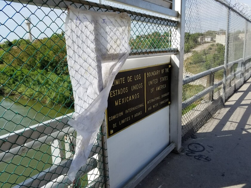 Border bridge between Ciudad Miguel Aleman and Roma, Texas, where Central American families are camp