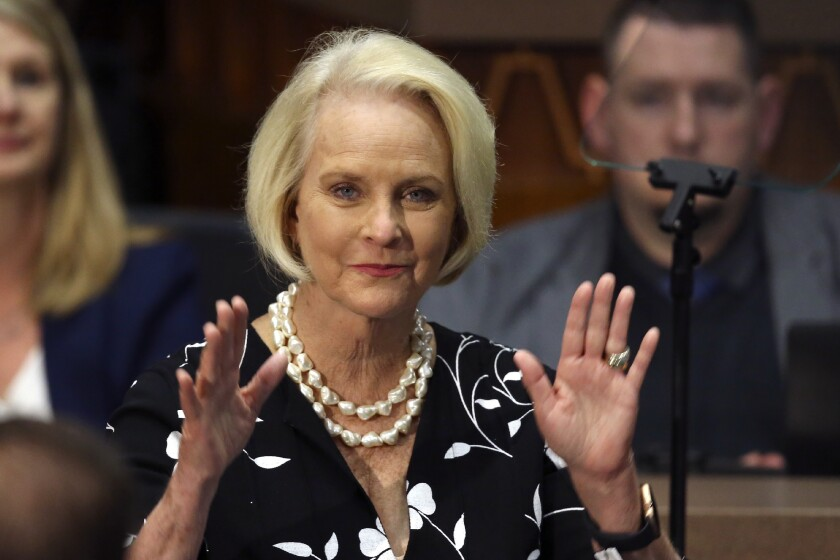 Cindy McCain waves to the crowd during Arizona Gov. Doug Ducey's address to the Legislature in January.